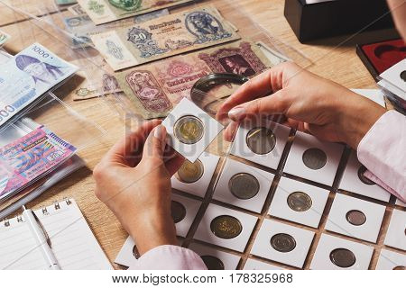 Zloty Coin In The Woman's Hand