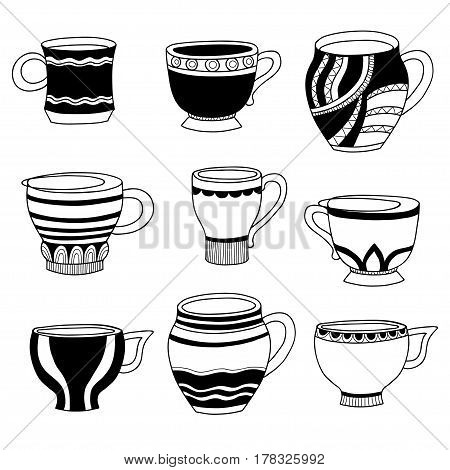 Vector doodle of cartoon cups for tea or coffee on white background.