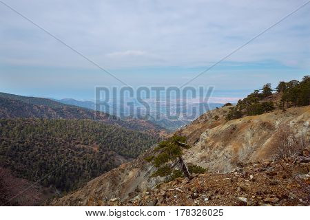 Picturesque Ocher Slopes Of The Troodos Mountain Range