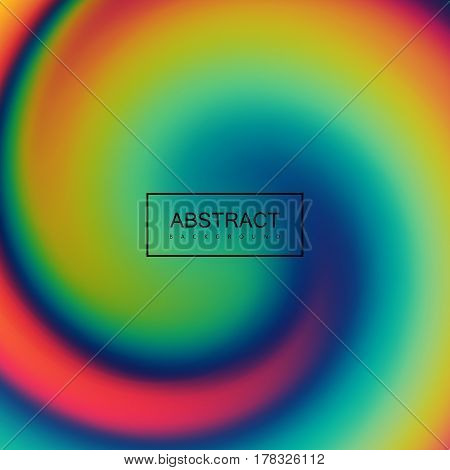 Fluid iridescent twisted background. Vector illustration of swirling rainbow liquid. Holographic neon whirlpool effect. Applicable for flyer, banner, poster, brochure, cover. Spectrum colors.