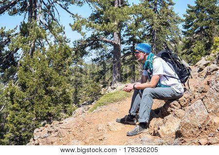Bearded Man, Traveler Relaxes During Journey