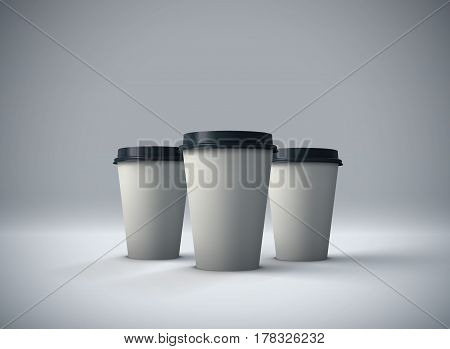 Paper coffee cups mock-up. Vector realistic 3d illustration. Package mockup design for branding