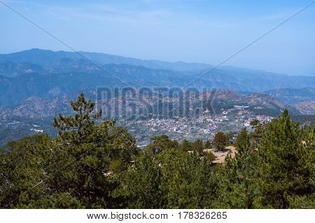 Panorama Of Picturesque Hills And Mountain Villages Near The Troodos