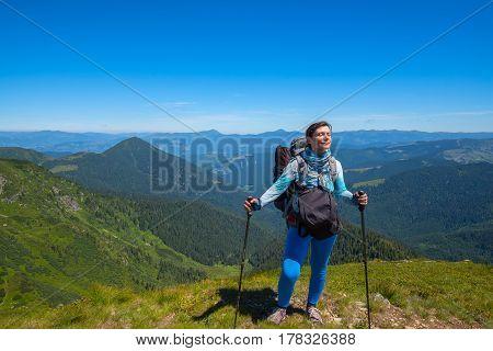 Happy Woman, Traveler Is Enjoying The Fresh Wind And Sun
