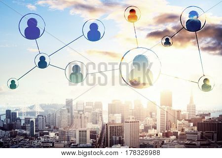 Abstract connected HR icons on city background. Staff network concept. 3D Rendering