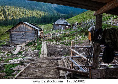 Wooden shepherds' houses in the Ukrainian Carpathians.
