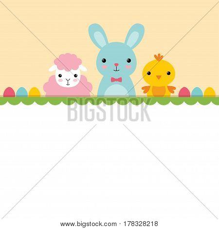A chick, a bunny and a sheep, Easter card