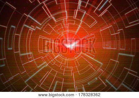 Orange Circular Glow Wave. Scifi Or Game Background.