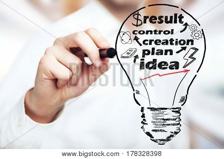 Close up of hand drawing lamp with writings on bright background. Business process concept