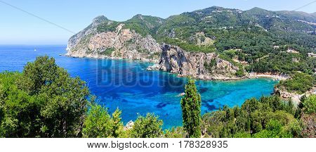 Beautiful landscape photo of Corfu island in the Ionian sea