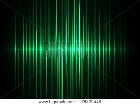 green wave abstract background, digital technology data backdrop, music wave, sound wave, vector illustration