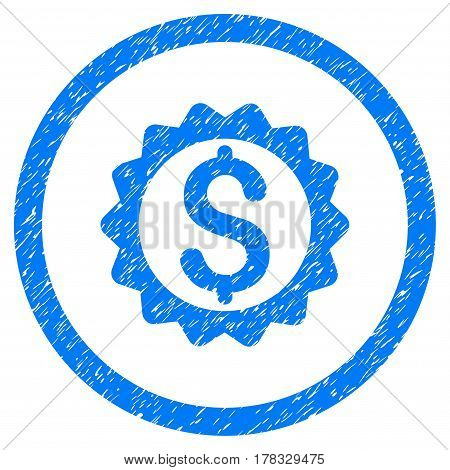 Financial Seal grainy textured icon inside circle for overlay watermark stamps. Flat symbol with dirty texture. Circled vector blue rubber seal stamp with grunge design.