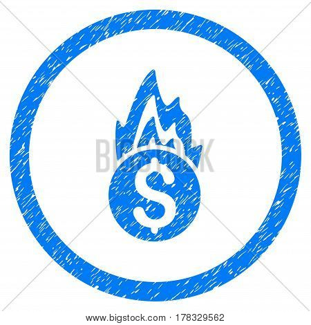 Fire Damage grainy textured icon inside circle for overlay watermark stamps. Flat symbol with scratched texture. Circled vector blue rubber seal stamp with grunge design.
