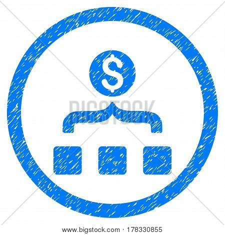 Money Aggregator grainy textured icon inside circle for overlay watermark stamps. Flat symbol with dust texture. Circled vector blue rubber seal stamp with grunge design.