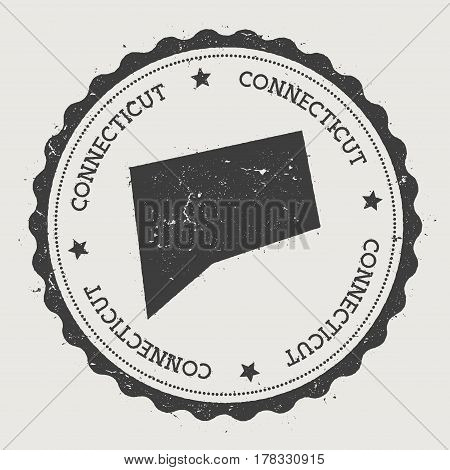 Connecticut Vector Sticker. Hipster Round Rubber Stamp With Us State Map. Vintage Passport Stamp Wit