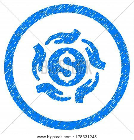 Money Care Hands grainy textured icon inside circle for overlay watermark stamps. Flat symbol with dust texture. Circled vector blue rubber seal stamp with grunge design.