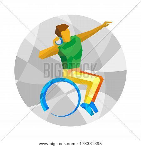 Wheelchair Sportsman Throwing Shot. Flat Sport Icon.