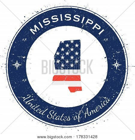 Mississippi Circular Patriotic Badge. Grunge Rubber Stamp With Usa State Flag, Map And The Mississip