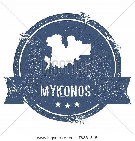 Mykonos Logo Sign. Travel Rubber Stamp With The Name And Map Of Island, Vector Illustration. Can Be