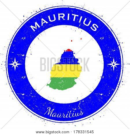 Mauritius Circular Patriotic Badge. Grunge Rubber Stamp With Island Flag, Map And Name Written Along