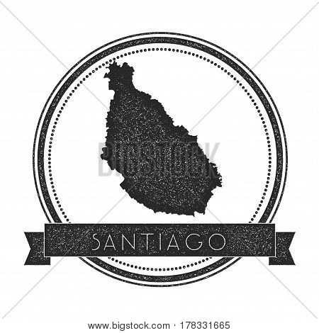 Santiago Island Map Stamp. Retro Distressed Insignia. Hipster Round Badge With Text Banner. Island V