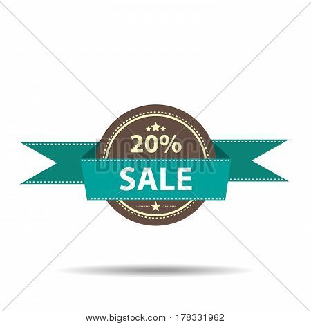 Vector vintage style discount in the form of circle on white background.