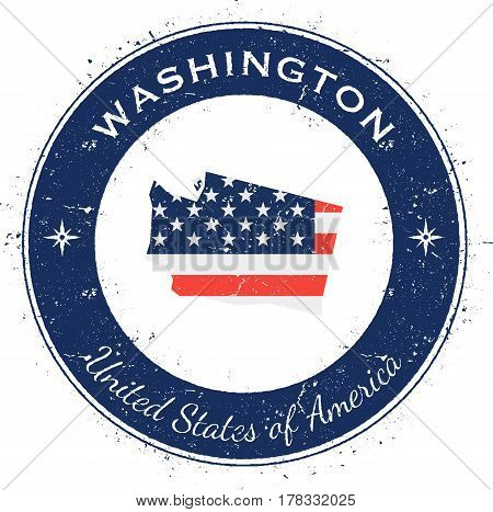 Washington Circular Patriotic Badge. Grunge Rubber Stamp With Usa State Flag, Map And The Washington