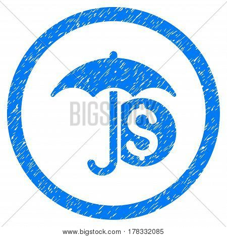 Money Umbrella Protection grainy textured icon inside circle for overlay watermark stamps. Flat symbol with dust texture. Circled vector blue rubber seal stamp with grunge design.