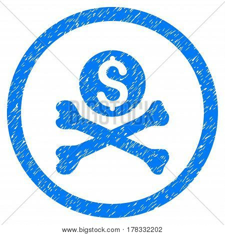 Mortal Debt grainy textured icon inside circle for overlay watermark stamps. Flat symbol with dirty texture. Circled vector blue rubber seal stamp with grunge design.