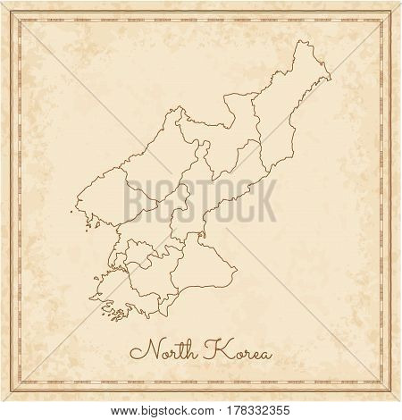 North Korea Region Map: Stilyzed Old Pirate Parchment Imitation. Detailed Map Of North Korea Regions