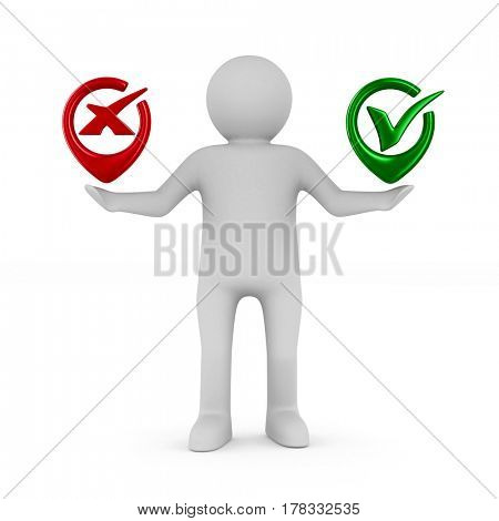 Man with symbols yes and No. Isolated 3D image