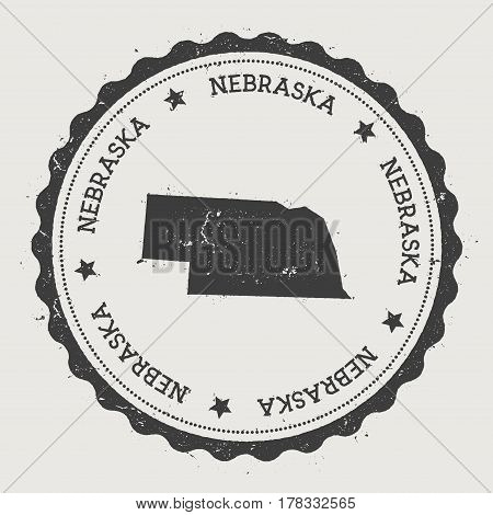Nebraska Vector Sticker. Hipster Round Rubber Stamp With Us State Map. Vintage Passport Stamp With C