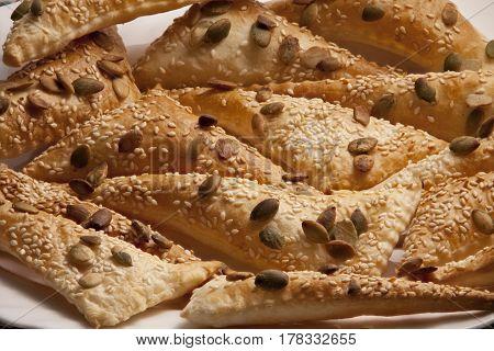 puff pastry Triangles Sprinkle Seeds pumpkin sesame seeds