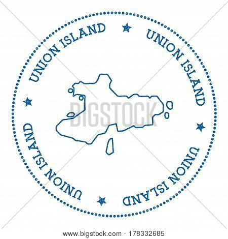 Union Island Map Sticker. Hipster And Retro Style Badge. Minimalistic Insignia With Round Dots Borde