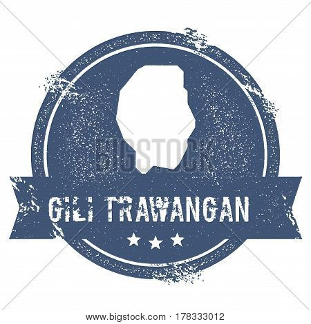 Gili Trawangan Logo Sign. Travel Rubber Stamp With The Name And Map Of Island, Vector Illustration.