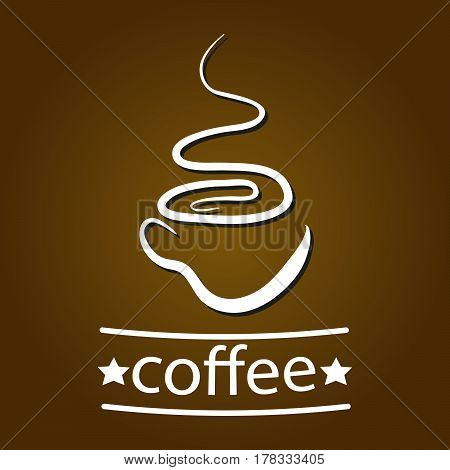 Vector illustration of coffee mug and fragrance as retro logo.