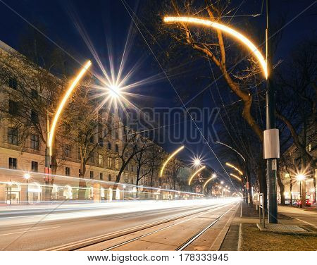 Beautiful street lights in central part of Vienna Austria Europe.
