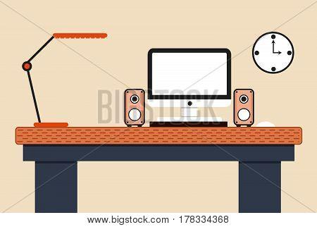 Flat design concept computer workstation on light background.