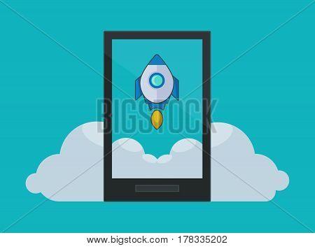 Rocket Flying Above Clouds with Black Smartphone - Vector illustration Design