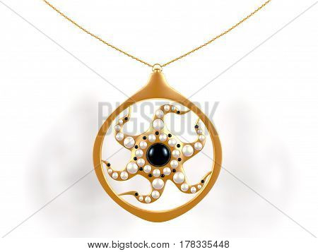 3d Ilustration - medallion with pearl insets on white background