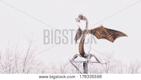 Forged Products dragon on white background. Master of Metal