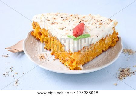 Carrot cake with pineapple cream cheese frosting.