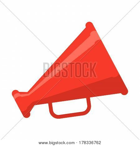 Red megaphone, vector illustration in flat style
