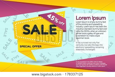 Sale and discounts yellow banner. Sale banner template design. Geometric shape with sharp angles. Vector illustration