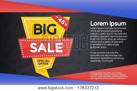 Sale and discount yellow banner on a dark background. Vertical banner sale template design. Geometric shape with sharp angles. Vector illustration
