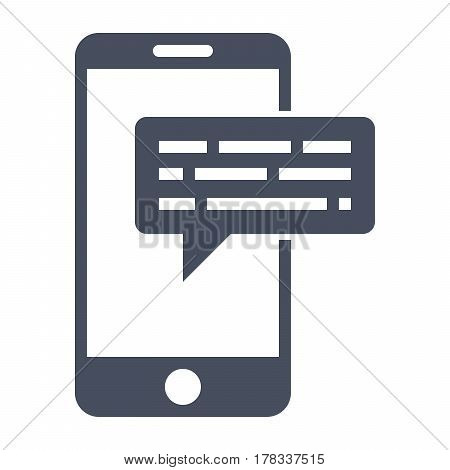 Smartphone email or sms icon, black vector silhouette on white background