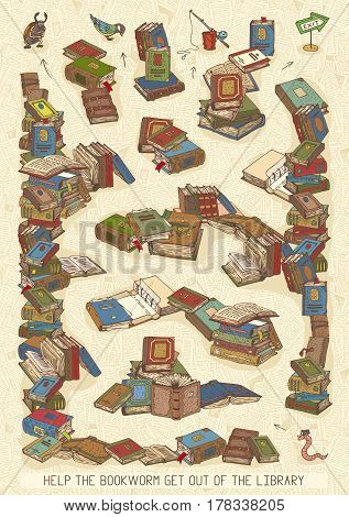 Maze Game with Bookworm and Books. Help the Bookworm Get Out of the Library
