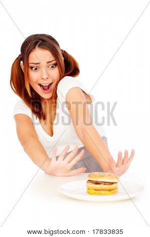 portrait of emotional woman with burger. isolated on white background