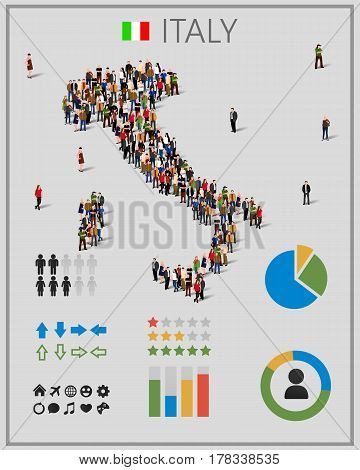Large group of people in form of Italy map with infographics elements. Italy map with chart, statistic and visualization templates. Background for presentation. Vector illustration
