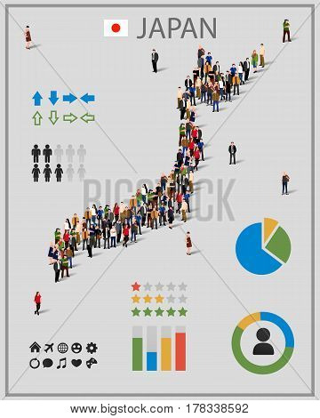 Large group of people in form of Japan map with infographics elements. Japan map with chart, statistic and visualization templates. Background for presentation. Vector illustration
